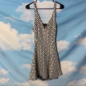 Kaitlyn-Black & White V-Neck Dress with Full Skirt